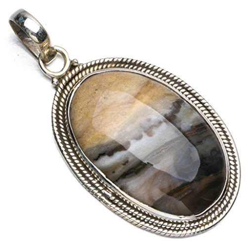 Natural Botswana Agate Boho Style 925 Sterling Silver Pendant Necklace 1 3/4