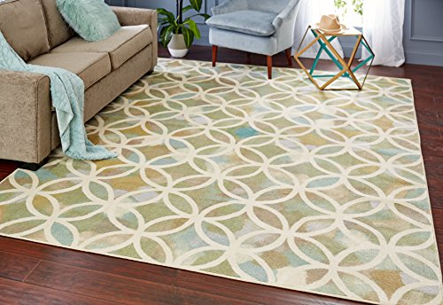 Mohawk Home Aurora Random Symmetry Light Green Geometric Printed Area Rug, 5' x 8', Green