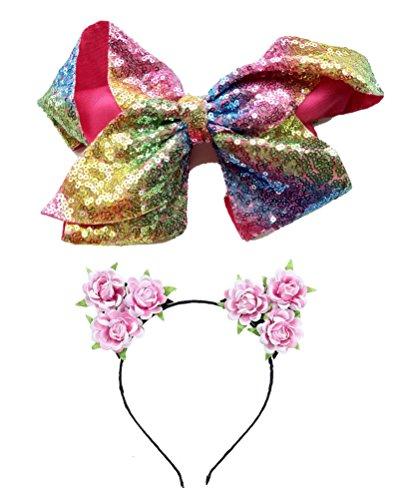 2 PC Baby Kids Girls Bling Sequins hair clip cat ears headband rainbow bow Toddler Barrettes Hairpins Head Accessories (B Rainbow flower pink)