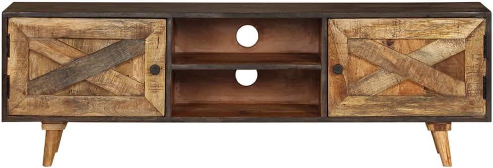 TV Lowboard Tisch Holz TV Board Mit viel Stauraum Massivem Mangoholz 140x30x45 cm Nishore TV-Schrank Retro Fernsehschrank Vintage Fernsehtisch