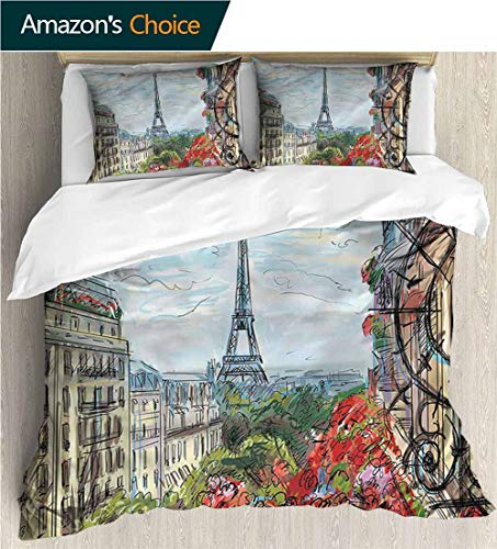 carmaxs-home 3 Pcs King Size Comforter Set,Box Stitched,Soft,Breathable,Hypoallergenic,Fade Resistant with 2 Pillowcase for Kids Bedding-Paris Streets in France Downtown (104