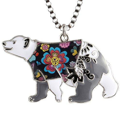 Luckeyui Black Bear Necklace Pendant for Men Women Unique Enamel Polar Bear Charm Jewelry