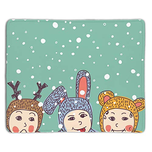 Baby Animals Costume Winter Snow Mouse Pad Non-Slip Rubber Base Mousepad Mat for Laptop Desktop ()