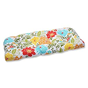 Pillow Perfect Outdoor Spring Bling Wicker Loveseat Cushion, Multicolored