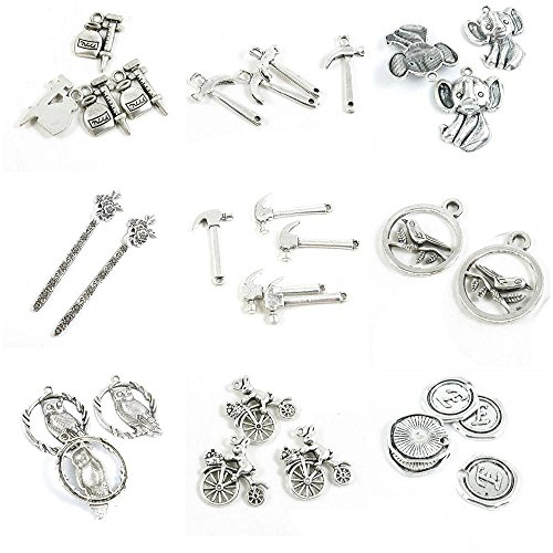 31 PCS Jewelry Making Charms Alphabet Letter E Tag Rabbit Cycling Owl Bird Signs Hammer Cherry ()