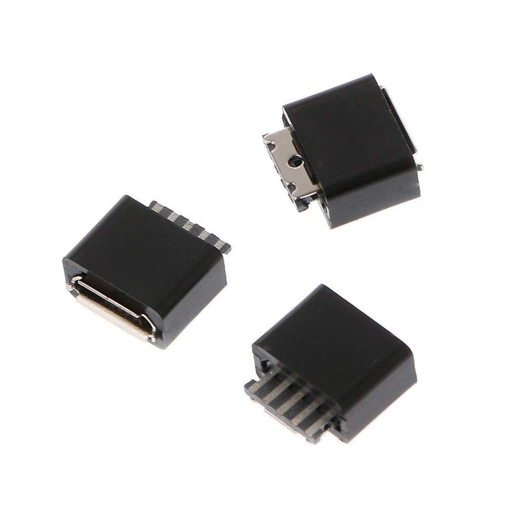 JOYKK Kit de Prise Femelle 10 Broches Micro USB connecteur Femelle Noir et Argent Prise de soudage /à souder