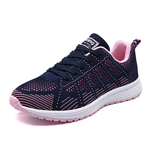 QTMS Sport Women's Walking Tennis Breathable Athletic Running Shoes, A08-Navy-39