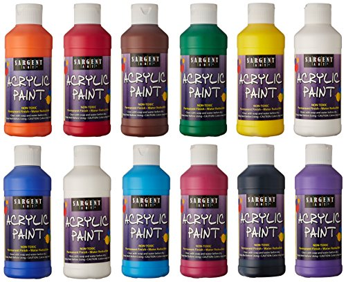 Sargent Art 22-2399 8-Ounce Acrylic Paint, 12 Piece Set (Acrylic Paint)