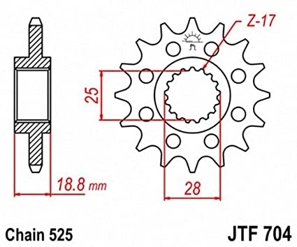 JT Sprockets JTF704.17 17T Steel Front Sprocket