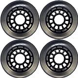 4-Pack Inline Outdoor Wheels Clear/Black 5 Spoke 76mm 82a