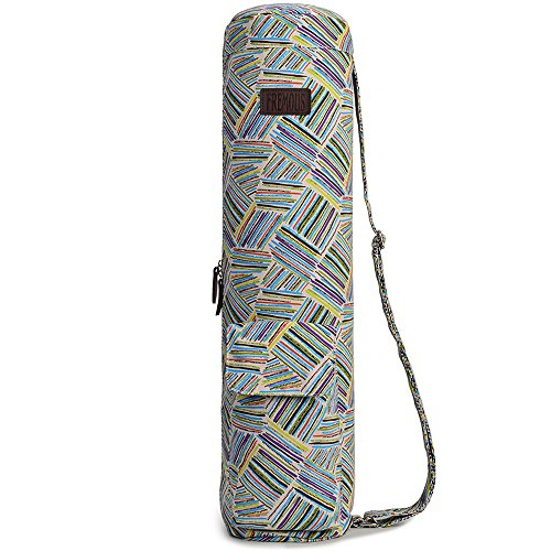 Fremous Yoga Mat Bags and Carriers for Women and Men- Patterned Canvas with 2 Storage Pocket and Zipper - Adjustable Shoulder Strap (painting)