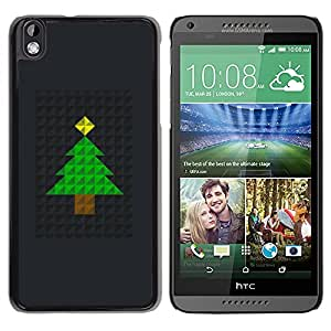 LECELL--Funda protectora / Cubierta / Piel For HTC DESIRE 816 -- Tree Christmas Polygon Black Metal --