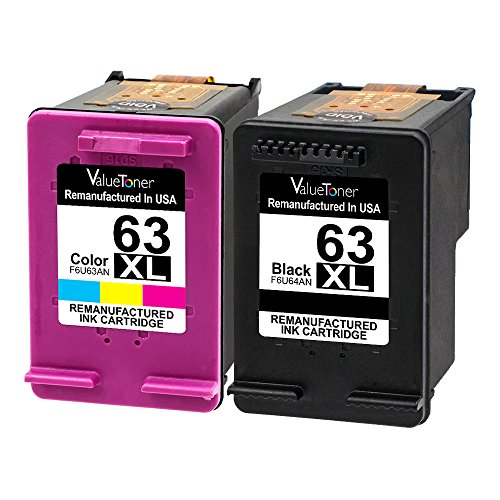 ValueToner Remanufactured Ink Cartridge for HP 63XL 63 XL Compatible with Officejet 4650, Envy 4520 4512 4516 Officeje 3830 3833 4655 Deskjet 1112 2130 3630 3633 3634 High Yield (1 Black, 1 Tri-Color)