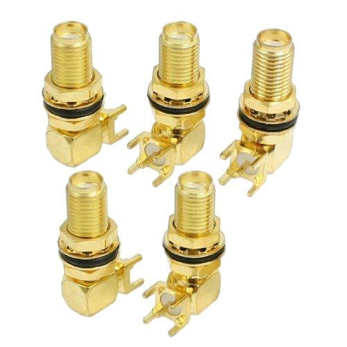 uxcell 5 Pcs SMA Female Jack Panel Mount PCB Solder Connectors Adapter