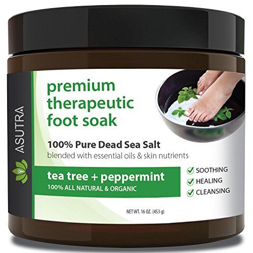 Asutra Premium Therapeutic Foot Soak, Tea Tree and Peppermint Scent, 100% Pure Dead Sea Salt, Skin-Healing Nutrients, Organic Essential Oils, Combats Feet Conditions, Free Pedicure Pumice Stone, 16 Oz