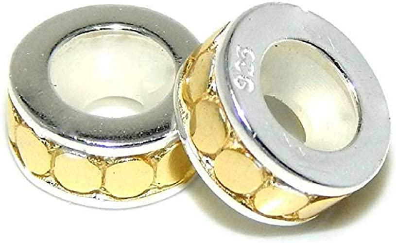 925 Sterling Silver Four Piece Small Rubber Stopper Spacers Charm Bead