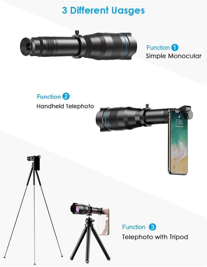 HD 60X Teleobjetivo Telescopio De Metal,Del Tel/éfono M/óvil De La Lente Del Telescopio Monocular Lente De Zoom Astron/ómico Tr/ípode Extensible Para El Iphone Todos Los Tel/éfonos Inteligentes Nuevo 2020