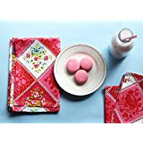 Store Indya Set of 4 Kitchen Dish Tea Towels Hand Woven with Pure Cotton & Pink White by Store Indya