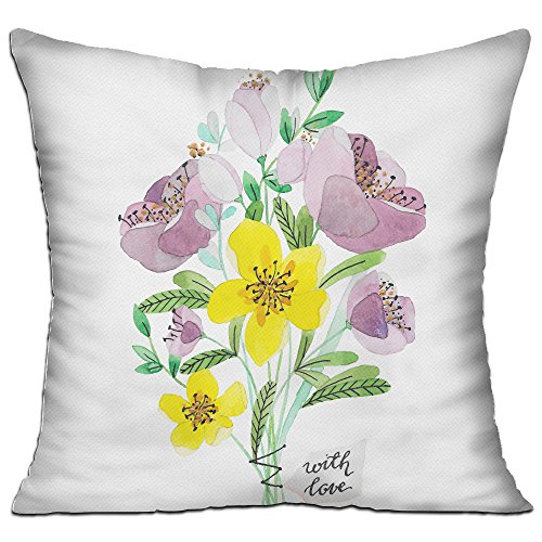 Set Painted Hand Bed (KKWODWCX Hand Painted Flower Home Fashion Soft Canvas Polyster Throw Pillow Bolster Cushion Cover Square 18'' Decorative Pillowcase)