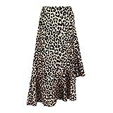 Midi Skirt Women Sexy Leopard Print High Waist Slit A-Line Ruffled Irregular Hem Cocktail Party Club Beach Skirts (Khaki, XL)