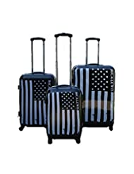 ICE CANADA Usa Flag 3-Piece Luggage Set made from ABS - Large, Medium and Carry On Suitcase with Wheels, Lock, and Telescopic Handle (Flag)