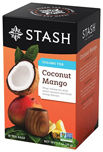 Stash Tea Coconut Mango Wuyi Oolong Tea 18 Count Tea Bags in Foil (Pack of 6) Individual Black Tea Bags for Use in Teapots Mugs or Cups, Brew Hot Tea or Iced Tea, Fair Trade Certified