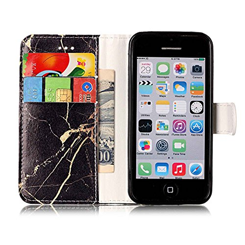 Funda Apple iPhone 5 5S 5SE Case, Ecoway pintado patrón Mármol PU Leather Suave Funda Cierre Magnético soporte para teléfono Billetera con Tapa para Tarjetas Carcasa Para Apple iPhone 5 5S 5SE - azale mármol oro negro