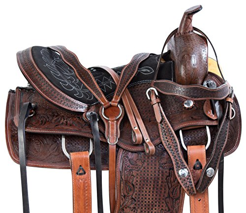 Leather Horse Saddle - AceRugs 14 15 16 17 18 Antique Oil Western Ranch Work Rodeo Leather Cowhide Horse Saddle TACK Package Premium (15)