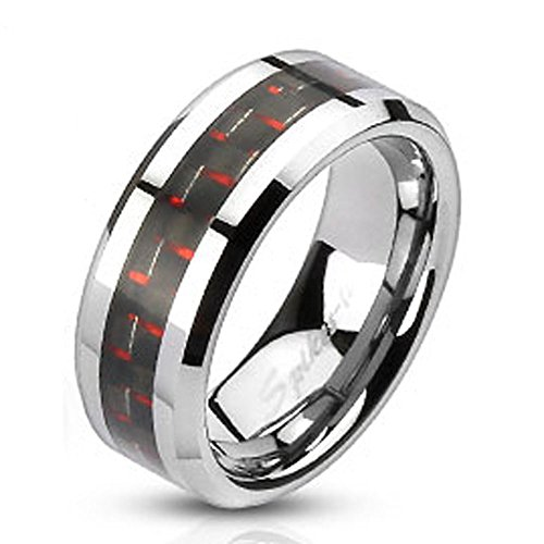 STR-0032 Stainless Steel Black and Red Carbon Fiber Inlay Band Ring Size 5-14; Comes With Free Gift Box