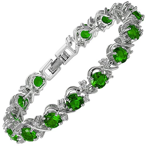 Infinity Emerald Bracelets (Round Simulated Green Emerald and White Cubic Zirconia 18K White gold Plated Tennis Bracelet, 7