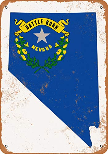 (Wall-Color 10 x 14 Metal Sign - Nevada State Flag Design - Vintage Look )