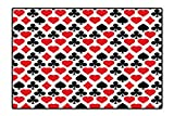 Area Rug for Kid Card Suits Pattern with Clubs Diamonds Hearts Spades Poker Gamble Theme Easy Clean Stain Fade Resistant 4'x5'