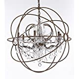 "Wrought Iron Empress Crystal (Tm) Red Rusted Painted Foucault's ORB Chandelier Lighting W 32"" H 34.5"""