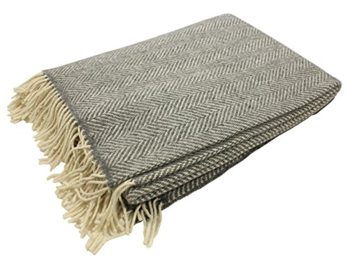 "John Hanly Irish Wool Throw Blanket Merino Wool & Cashmere Grey Herringbone 54"" Wide by 71"" Long Super Soft & Warm Housewarming Made in Ireland - Grey Merino Cashmere"