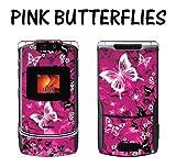 New Motorola Razr V3XX Designer Skin Removable Vinyl - Pink Butterflies