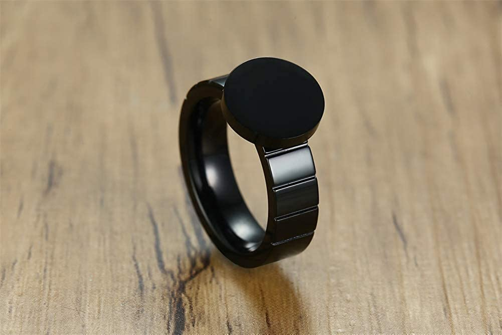MPRAINBOW Unisex Black Stainless Steel Spinner Ring Turntable Ring Band Ring