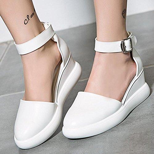 Pu Zapatos mujer Casual Rosa Wedge GAOLIXIA Blanco Summer Blanco Sandalias Heighten Mujer de Zapatos Respirable Negro Baotou cómodos 5qqxrZEv