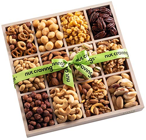 (Nut Cravings Mixed Nuts Wood Gift Box – Gourmet Assortment of Kosher Nuts, Pretzel Pub Mix & Other Salty, Savory Snacks for Mother's Day, Christmas, Holiday or Corporate – Large Variety in Sectional T)
