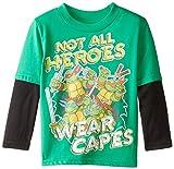 Teenage Mutant Ninja Turtles Toddler Boys' Long Sleeve T-Shirt Shirt Twofer , Kelly/Black, 4T