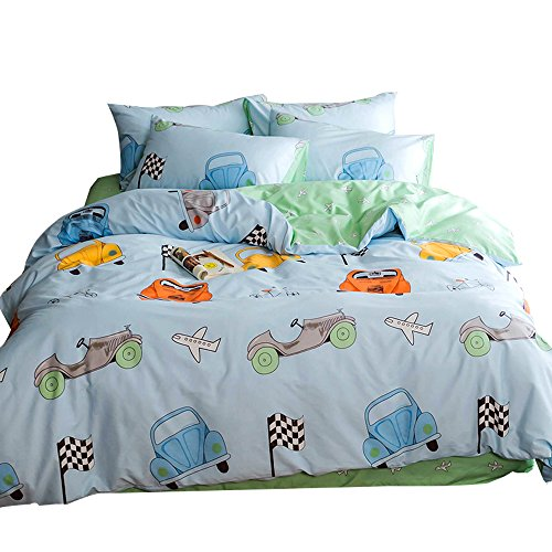 Lightweight Cotton Car Twin Duvet Cover Set 3 Piece Reversible Home Textile Vehicle Space Airplane Bedding Sets Twin with Pillow Shams for Kids Boys Grils Toddler Crib, Blue Bedding Sets,No - Bedding Race Car Set Crib