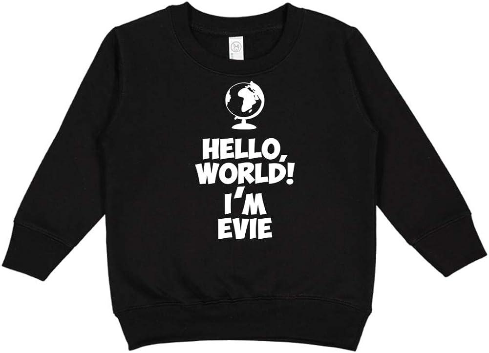 Mashed Clothing Hello Im Evie World Personalized Name Toddler//Kids Sweatshirt
