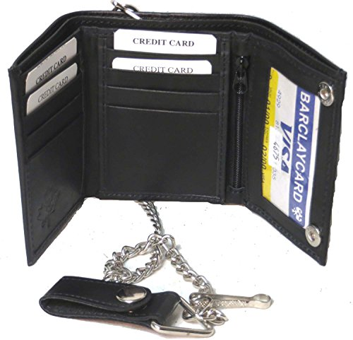 Men's Tri-fold Faux Leather Wallet with Chain #4775 US