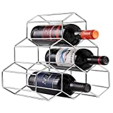 Cheap Buruis 6 Bottles Metal Wine Rack, Countertop Free-stand Wine Storage Holder, Space Saver Protector for Red & White Wines – Silver