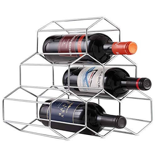 Buruis 6 Bottles Metal Wine Rack, Countertop Free-stand Wine Storage Holder, Space Saver Protector for Red & White Wines - Silver