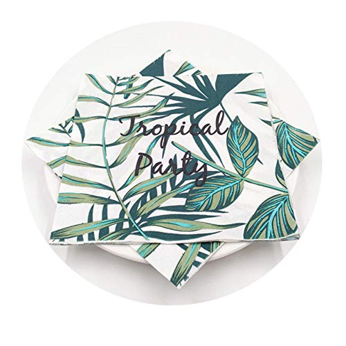Gold Foil Star Disposable Tableware Napkin Tropical Palm Tree Leaves Paper Plates Cups Shower Girls Boys 20pcs ()
