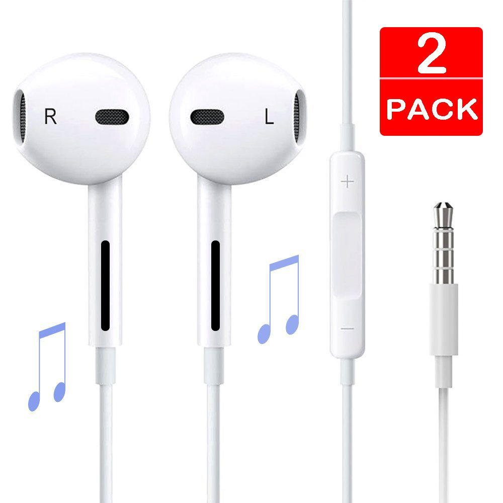 Earbuds, Melid 2-PACK Premium Earphones/Earbuds/Headphones with Stereo Mic&Remote Control for iPhone iPad iPod Samsung Galaxy and More Android Smartphones Compatible with 3.5 mm headphones