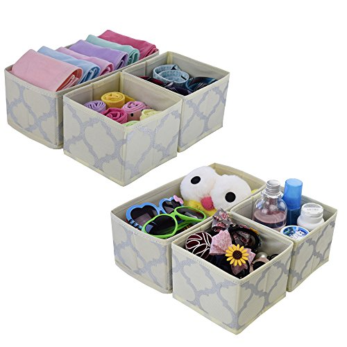 Foldable Drawer Organizer Fabric Dresser Dividers Storage Bins Nursery Baby Boxes Cloth Closet Baskets Cubes Containers for Underwear, Socks,Ties ,Diapers ,Wipes or Accessories,Set of 6 Beige