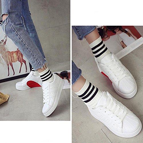 punta Zapatos Comfort redonda para Heel GAOLIXIA mujer Shell Fall PU Head Negro de Sneakers Spring Blanco Black Flat con cordones Casual 07Pq0r