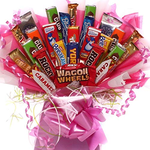 Biscuit Bouquet for Her, a Pink Explosion of Classic Biscuits Arranged in a Presentation Box and Decorated with…