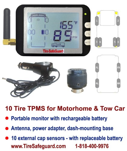 10 Tire RV Cap Sensor Tire Pressure Monitoring System (TPMS) by Tire-Safeguard (Image #1)